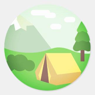 Natural Camping Emoji Classic Round Sticker