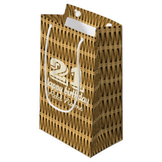 Natural cane wicker small gift bag
