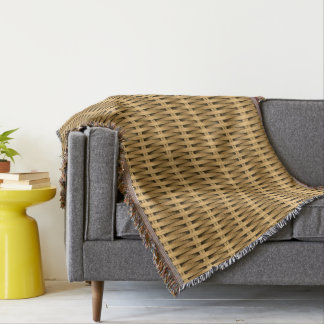 Natural cane wicker throw blanket