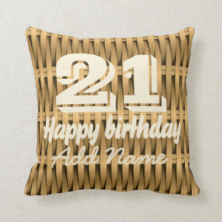 Natural cane wicker throw pillow