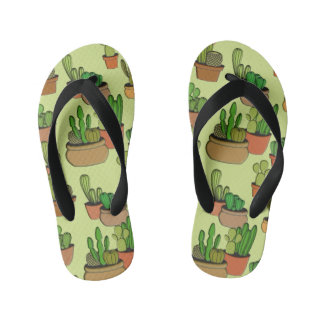 Natural Cartoon Potted Cacti Kid's Flip Flops