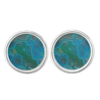 Natural Deep Blue Green Marbled Gem Stone Cufflinks
