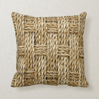 NATURAL FAUX TEXTURE STRAW WEAVE SUMMER PILLOW