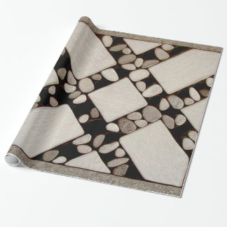 NATURAL GARDEN PEBBLE TILE WRAPPING PAPER