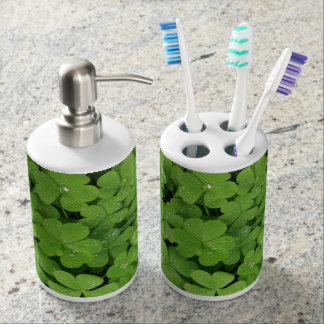 Natural green clover  bathroom holder/dispenser soap dispenser and toothbrush holder