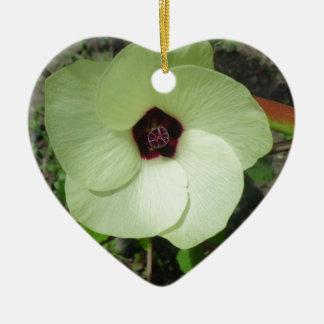 Natural Green Flower Ceramic Heart Ornament