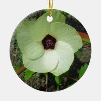 Natural Green Flower Round Ceramic Ornament