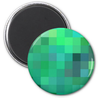 Natural Green Patchwork Geometric design 2 Inch Round Magnet