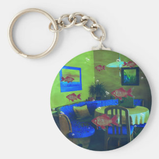 Natural habitat basic round button keychain