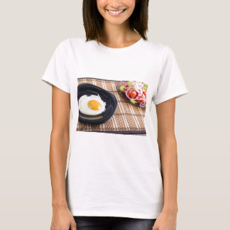 Natural homemade breakfast of fried egg and salad T-Shirt