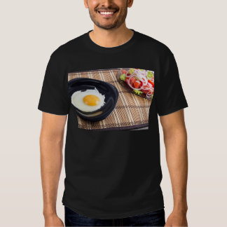 Natural homemade breakfast of fried egg and salad t shirts