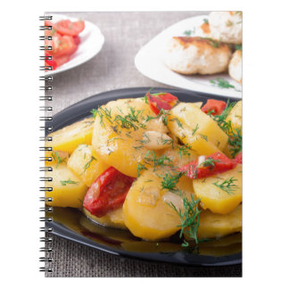 Natural homemade food on the kitchen table closeup notebook