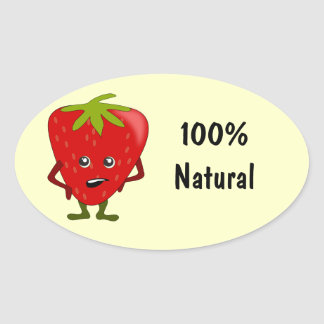 Natural Ingredients Food Labels: Strawberry Oval Sticker