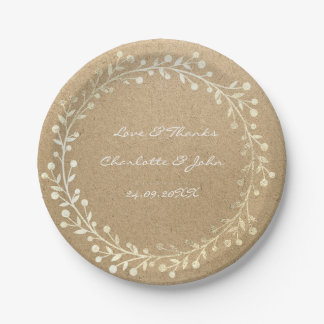 Natural Kraft Foxier Gold Wreath Garland Paper Plate