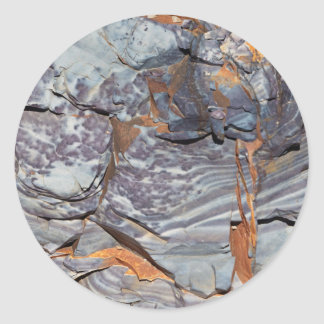 Natural layers of agate in a sandstone classic round sticker