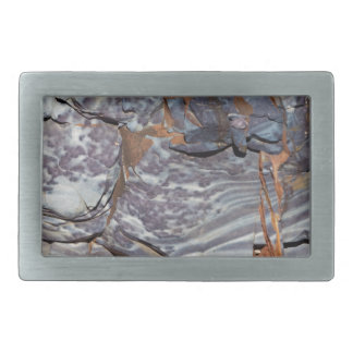 Natural layers of agate in a sandstone rectangular belt buckle
