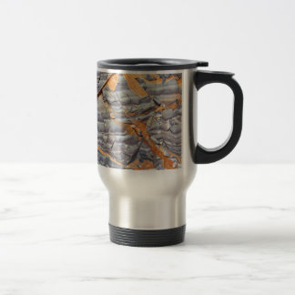 Natural layers of agate in a sandstone travel mug