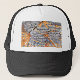 Natural layers of agate in a sandstone trucker hat