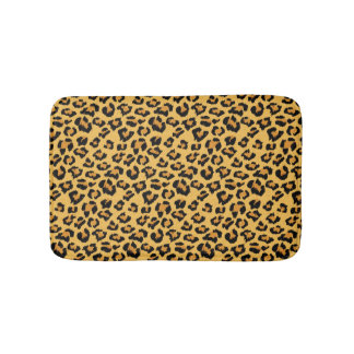 Natural Leopard Skin Print Fake Fur Pattern Bathroom Mat