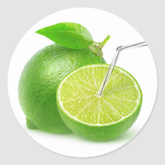 Natural lime juice round sticker