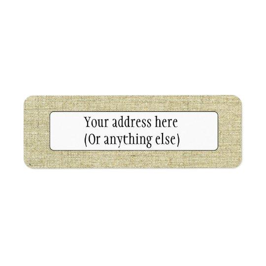 Natural Linen Canvas Texture Return Address Label