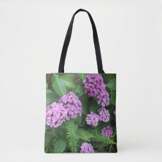 Natural Mauve hydrangeas and ferns Tote Bag