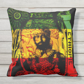 Natural Mystic Haile Selassie Rasta Design Outdoor Pillow