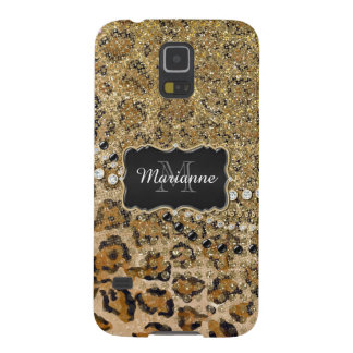Natural n Gold Leopard Animal Print Glitter Look Case For Galaxy S5
