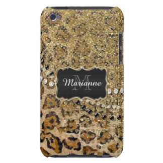 Natural n Gold Leopard Animal Print Glitter Look iPod Touch Covers