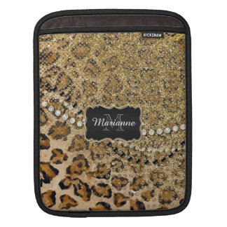 Natural n Gold Leopard Animal Print Glitter Look Sleeve For iPads