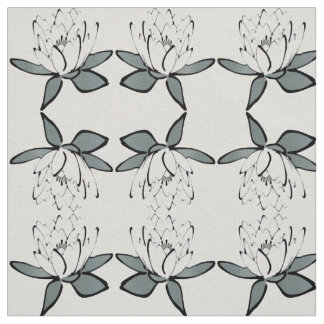 Natural Neutral Lotus Flower Fabric Zen