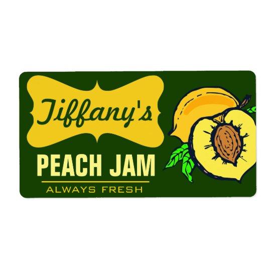 Natural Organic | Peach Jam | Handmade Jams Shipping Label