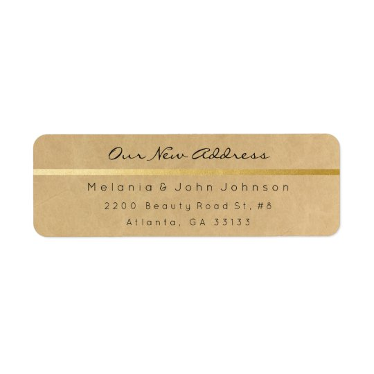 Natural Papaer Black Gold Kraft  New Adress RSVP Return Address Label