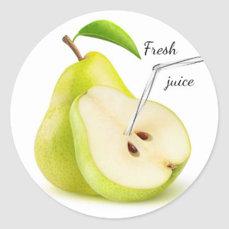 Natural pear juice round sticker