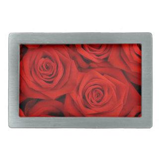 Natural red roses background rectangular belt buckle