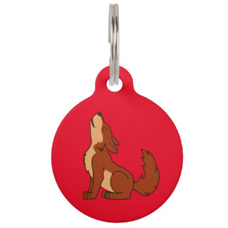 Natural Red Wolf Pup Howling Pet Tag