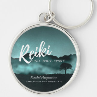 Natural Reiki Master and Yoga Mediation instructor Silver-Colored Round Keychain