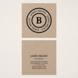 Natural Rustic Minimalist Monogram Kraft Paper Square Business Card