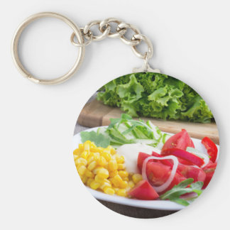Natural salad of tomatoes, mozarella cheese basic round button keychain