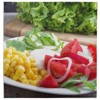 Natural salad of tomatoes, mozarella cheese napkin