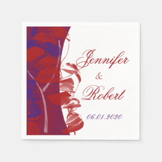 Natural Silhouettes: Red and Purple Leaf Design Disposable Napkin