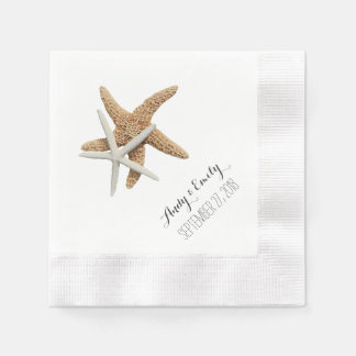Natural Starfish Couple White Personalized Wedding Paper Napkins