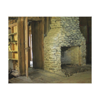 Natural Stone Fireplace Canvas Print