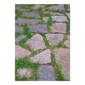 Natural stone patio pretty rocks mosaic photo personalized announcements