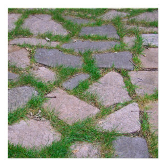 Natural stone patio pretty rocks mosaic photo custom invitations