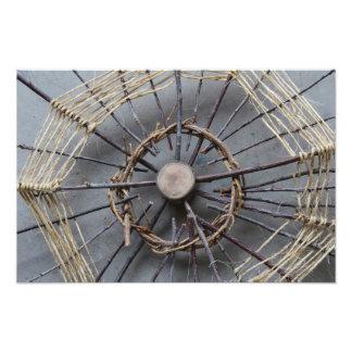 Natural String & Wood Sculpture Photo Closeup