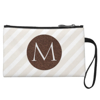 Natural Stripes and Faux Bronze Glitter Monogram Wristlet Purse