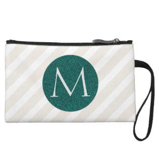 Natural Stripes and Faux Teal Glitter Monogram Wristlet
