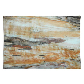 Natural tree bark colorful orange and gray picture placemat