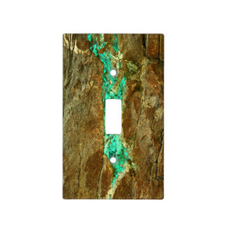 Natural turquoise vein in rough brown stone light switch cover